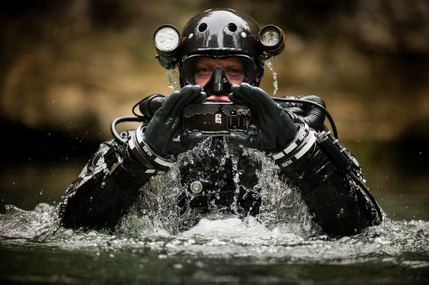 Cave diver Andy Torbett using a Cat S60 to explore the depths